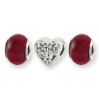 Sterling Silver Enamel Gift Boxed Antique finish Italian Murano Glass Reflections Red Hot Mom Boxed Bead Charm Set