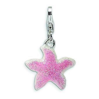 Sterling Silver Enameled Pink Sparkle StarFish With Lobster Clasp Charm - Measures 24x15mm