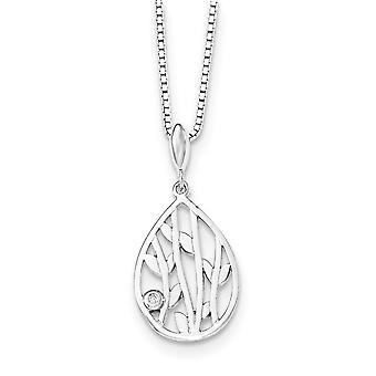 Sterling Silver White Ice Diamond Leaf Pendant - .010 dwt - 18 Inch