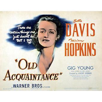 Vecchio conoscente Bette Davis 1943 Movie Poster stampa di alta qualità