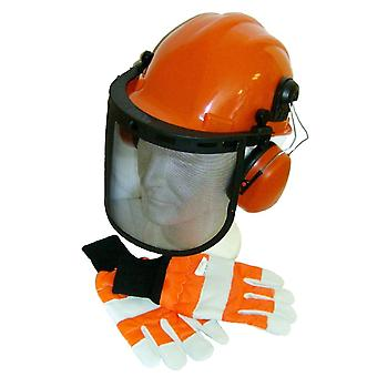 Chainsaw Safety Helmet, Hard Set & Extra Extra Large Gloves XXL Size 12
