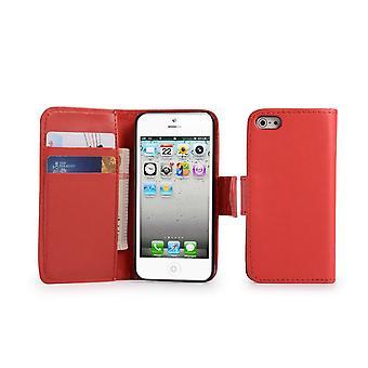 Boek lederen Case Cover + stylus voor Apple iPhone 5 5S SE - rood