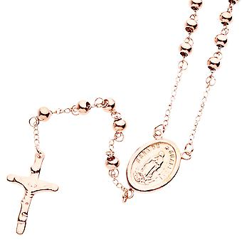 Iced out stainless steel Rosary Rosary cross necklace - rose gold
