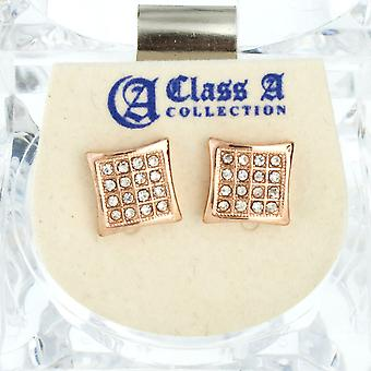 Iced out bling earrings box - DOME 10 mm rose gold