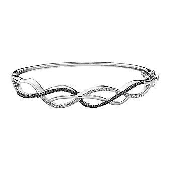 White and Black Diamond Bangle Bracelet 2/5 Carat (ctw) in Sterling Silver