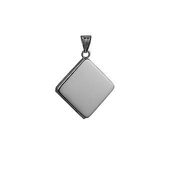 Silver 22mm plain flat diamond shaped Locket
