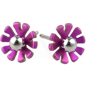 Ti2 Titanium 8mm Ten Petal Polished Bead Flower Stud Earrings - Candy Pink