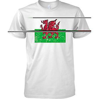 Drago gallese Distressed effetto Grunge Flag Design - Mens T-Shirt