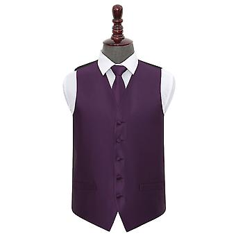 Cadbury Purple Solid Check Wedding Waistcoat & Tie Set