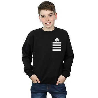 Looney Tunes Boys Tweety Pie Striped Faux Pocket Sweatshirt