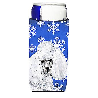 White Toy Poodle Winter Snowflakes Ultra Beverage Insulators for slim cans