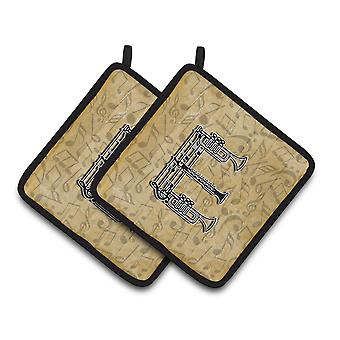 Letter E Musical Instrument Alphabet Pair of Pot Holders