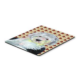 Old English Sheepdog Fall Leaves Portrait Mouse Pad, Hot Pad or Trivet
