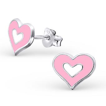 Heart - 925 Sterling Silver Colourful Ear Studs
