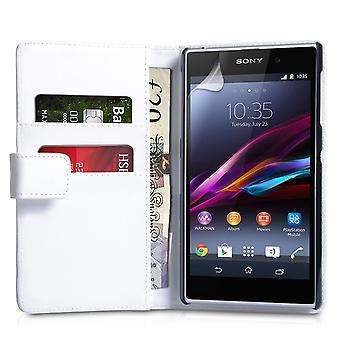 Yousave Zubehör Sony Xperia Z1 Lederoptik Wallet - weiß