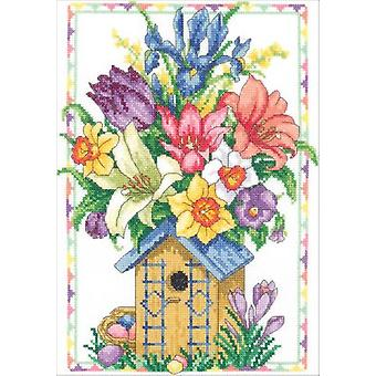 Spring Birdhouse Bouquet Counted Cross Stitch Kit-9