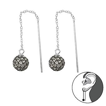 Sparkling Ball Thread Through Earring - 925 Sterling Silver Crystal Earrings - W35665x