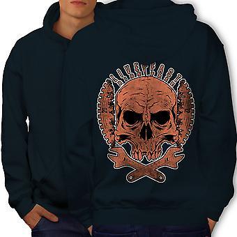 Living Life Biker Skull Men NavyHoodie Back | Wellcoda