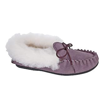 Girls Leather Suede Slip On Thermal Warm Lined Moccasin Slippers Shoes