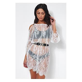The Fashion Bible Lola White Lace Cover Up