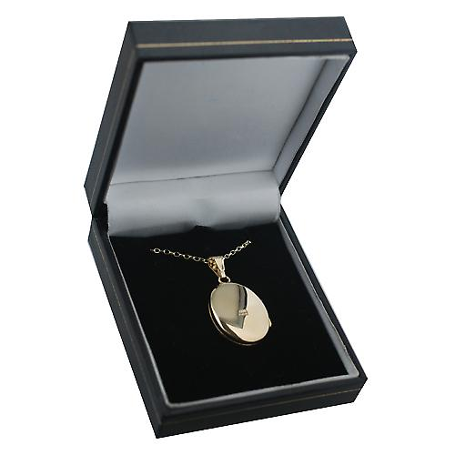 9ct Gold 27x20mm diamond set and hand engraved oval Locket on a belcher Chain 18 inches