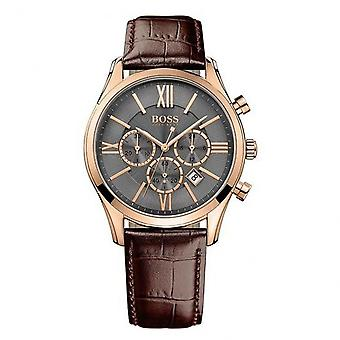 Hugo Boss 1513198 Ambassador Rose Gold & Brown Leather Chronograph Men's Watch