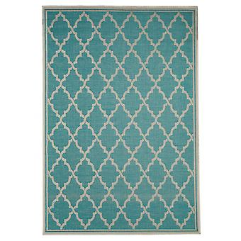In - and outdoor carpet living room, balcony / terrace turquoise-cream 200 x 290 cm