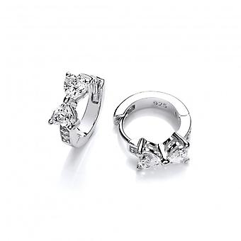 Cavendish French Silver and CZ Bow Huggie Earrings