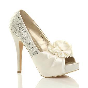 Ajvani женские вечерние Свадебные Пром партии цветок Диаманте высокой пятки платформы заглянуть ног обувь Босоножки насосы