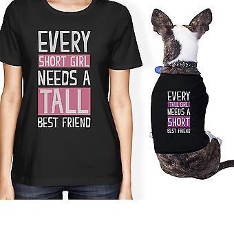 مالك الحيوانات الأليفة الصغيرة صديق قصير القامة مطابقة هدية تتسابق قمم سوداء