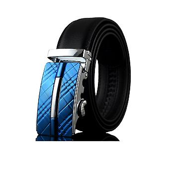 Belt man adjustable black real leather and buckle in steel blue