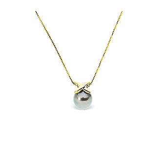 Women's Choker necklace in yellow gold 375/1000 and Tahitian Pearl