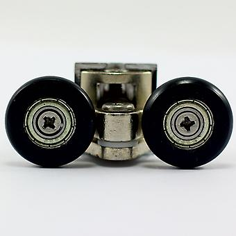 25mm Double Swivel Shower Rollers - Metal Zinc Alloy - Black Wheels