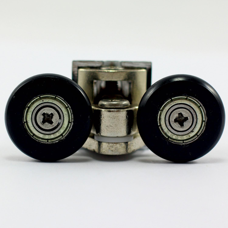 25mm Double Swivel Shower Rollers - Metal Zinc Alloy - Black Wheels