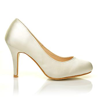 PEARL Ivory Satin Stiletto High Heel Classic Bridal Court Shoes
