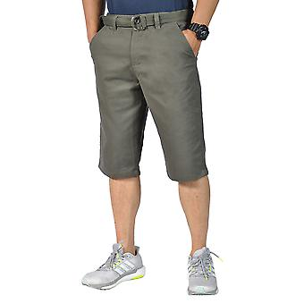 Mens Relaxed fit Belted Casual chino shorts Olive