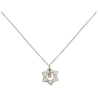 Ladies - necklace - pendants - Silver 925 - Lotus Flower - mandala - Rose Quartz - drip - Rosa - YOGA - 45 cm