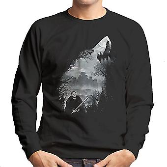 Game Of Thrones King Of The North Wolf Collage Men's Sweatshirt