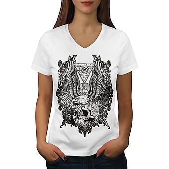 Skull Vintage Women WhiteV-Neck T-shirt | Wellcoda