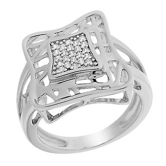 Orphelia Silver 925 Ring Double Square  Zirconium   ZR-6055