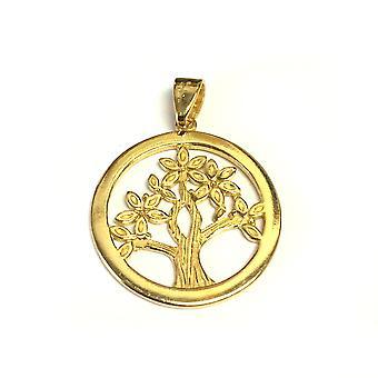Ciondolo in argento Sterling di 18 carati oro Overlay placcato albero della vita