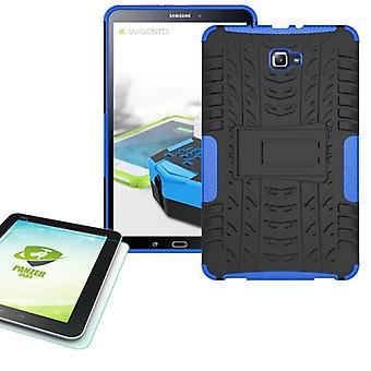 Hybride buiten tas blauw voor Samsung Galaxy tab A 10.1 T580 + 0,4 gehard glas