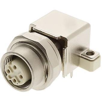 Harting 21 03 381 4412 Sensor/actuator built-in connector M12 PCB socket, mount No. of pins (RJ): 4 1 pc(s)