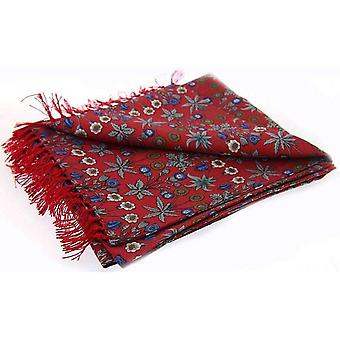 David Van Hagen Floral Luxury Fashion Silk Scarf - Red