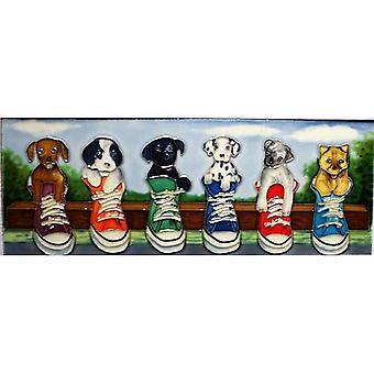 YH Arts Ceramic Wall Art, Puppy Parade 16 x 6