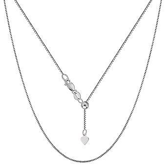 14 k wit goud verstelbare vak Link Chain ketting, 0.7 mm, 22