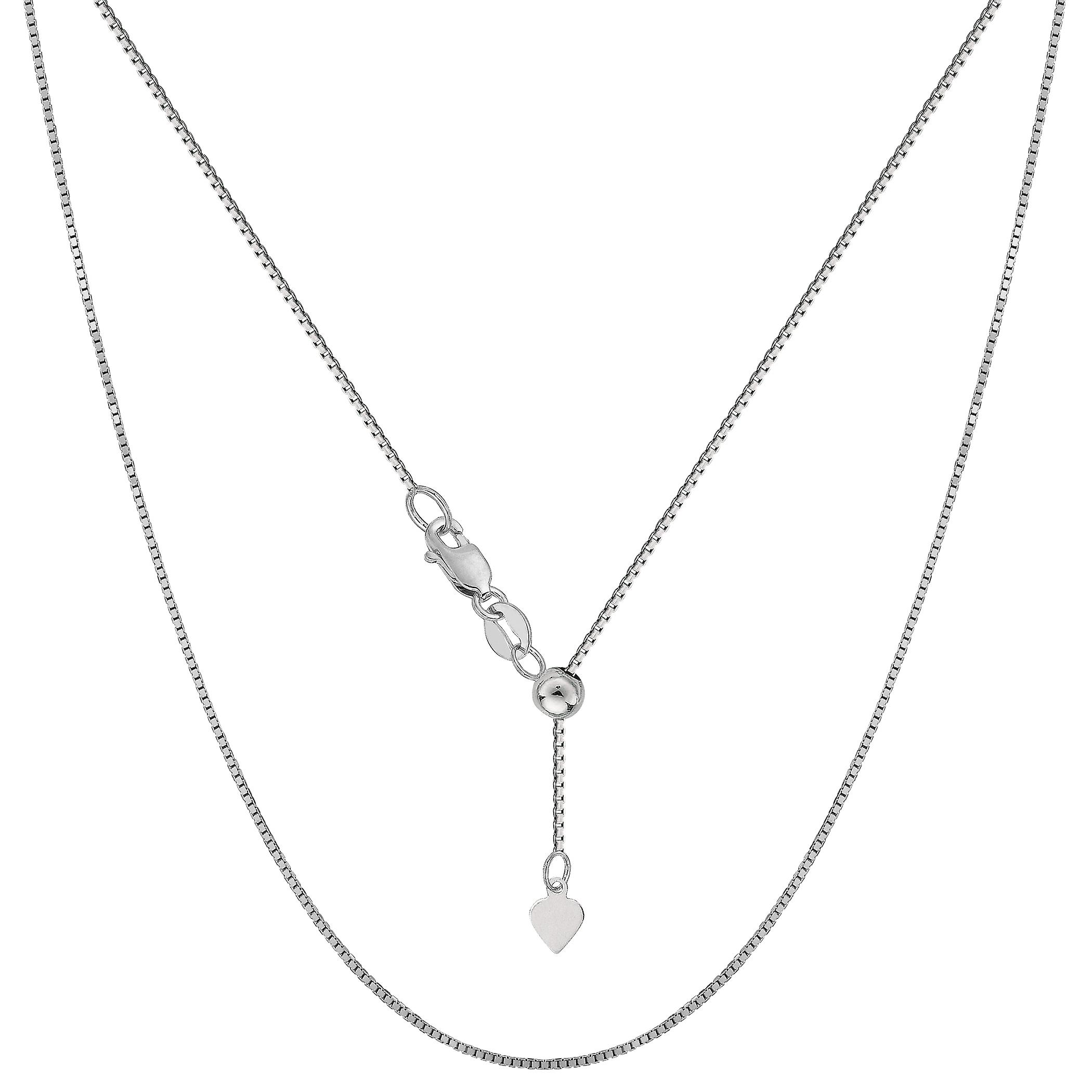 14k blanc or Adjustable Box Link Chain Necklace, 0.7mm, 22& 034;