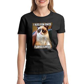 Grumpy Cat Fun Once Awful Women's Black T-shirt