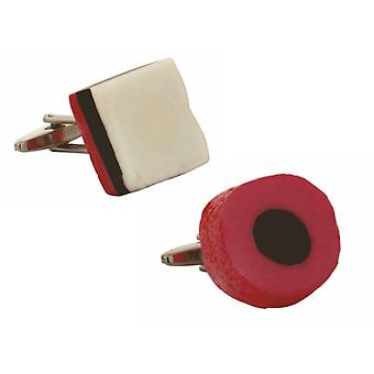 Zennor Liquorice All Sorts Cufflinks - Red/White