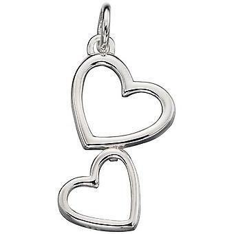Double coeur de débuts découpé pendentif - Silver